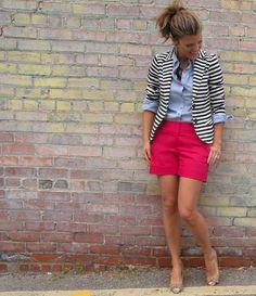 Striped Jacket, Chambray Blouse & Hot Pink Shorts