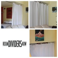 Create privacy in minutes with RoomDividersNow Room Divider Kits! Perfect for studio apartments and shared bedrooms... http://www.roomdividersnow.com/