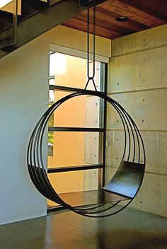 Put remote control swing mechanism into this hanging swing chair aux deux. Hanging Furniture, Metal Furniture, Unique Furniture, Garden Furniture, Furniture Design, Summit Furniture, Outdoor Furniture, Pergola Swing, Hammock Swing