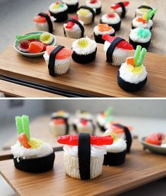 dessert sushi So if you really have a lot of time on your hands, this is what you need to do sushi cupcakes complete with recipes Wenn Sie also wirklich viel Zeit zur Verfgung haben, mssen Sie dies tun Sushi-Cupcakes mit Rezepten Sushi Cupcakes, Mini Cupcakes, Birthday Cupcakes, Fathers Day Cupcakes, Summer Cupcakes, Funny Cupcakes, School Cupcakes, Fathers Day Cake, Themed Cupcakes