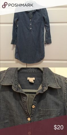 J. Crew XXS Jean Dress This XXS dress from J. Crew has been worn a few times but has no damage to it. It's a good material denim dress that's looks great with a small belt around the waist. J. Crew Dresses