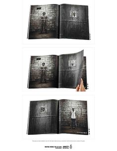 """""""This press ad demonstrates how with Amnesty International you can help free innocent and imprison the giulty."""" Advertising Agency: Colenso BBDO, Auckland, New Zealand"""