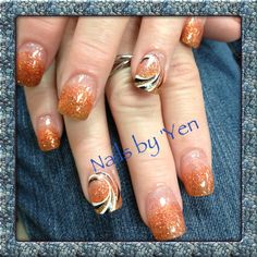 Golden orange and brown fade ombre with nail design. Great for fall #color acrylic #fall #pumpkin #nails by yen #gradient