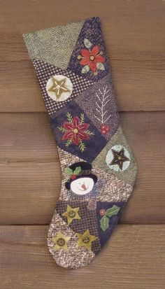 Cotton Tales Crazy Quilted Christmas Stocking Wool Applique Snowmen and Flannel Crazy Quilted Christmas Stocking