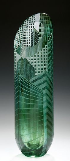 Canary Wharf Vase I  32cm high x 9cm diameter,  grey over green glass overlaid on  clear lead crystal, blown to my design by Potter Morgan Glass. Cut, polished and wheel engraved 2012.  photos: Ester Segarra