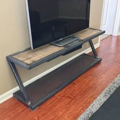 Entertainment Stand in 2020 Small Living Room Design, Home Room Design, Living Room Designs, House Design, Iron Furniture, Modern Bedroom Furniture, Steel Furniture, Industrial Design Furniture, Furniture Design