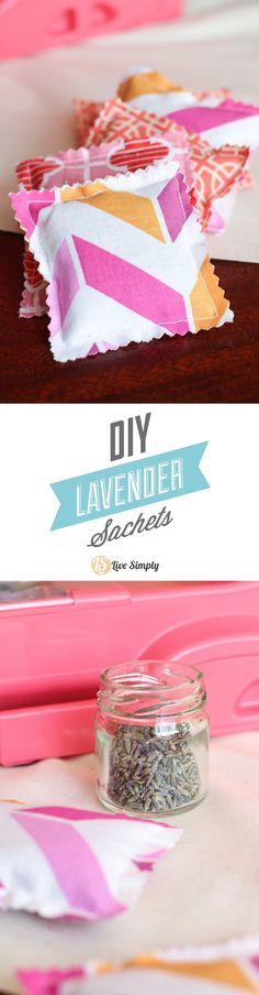 Super easy to make DIY Lavender Sachets. These make great gifts and require very little time or sewing experience. I love to give these little sachets as gifts, or place them under my family's pillows or in drawers. Just fabric and lavender!