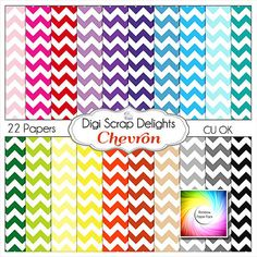 Chevron Digital Scrapbook Papers, Scrapbooking, Card Making, Web pages, Backgrounds, Instant Download