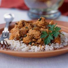 Turkey Picadillo | MyRecipes.com  Change out the white rice for brown or wild rice and this can be a P1 or P3 meal.