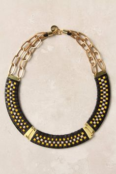 Anthropologie Ajaka necklace 14k plated brass and leather, 2.5cm width €188