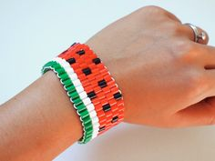 Relish the last bit of summer with this sweet watermelon bracelet made with Perler beads.