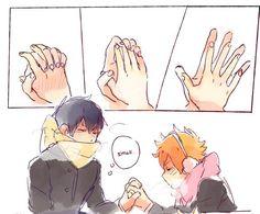 Hinata has smol hands --Haikyuu