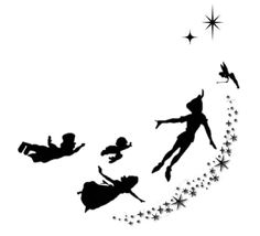 officially my dream tattoo! this would be perfect to go along my foot & up my ankle. Peter Pan Images, Peter Pan Art, Dream Tattoos, Future Tattoos, Tatoos, Pixie Tattoo, I Tattoo, Peter Pan Flying, Disney Symbols