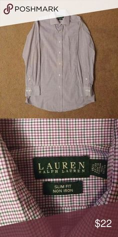 Lauren Ralph Lauren Slim Fit Dress Shirt Very light purple and green striped men's dress shirt by Ralph Lauren. Neck is 15 1/2 and Sleeves are 32/33. Worn only twice, no stains, tears, rips etc. and fits like a slim fit large shirt. List $20, but open to negotiation/trade. Lauren Ralph Lauren Shirts Dress Shirts