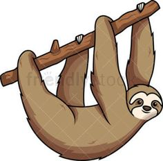 Sloth Hanging From Tree Branch With All Fours: Royalty-free stock vector illustration of a sloth hanging from a tree branch with all fours. Baby Sloth, Cute Sloth, Sloth Drawing, Tree Clipart, Vector Clipart, Sloth Tattoo, Sloth Sleeping, Monkey Illustration, Tree Branches