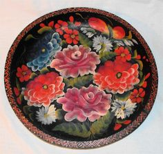 "Vtg Hand Painted 13.4"" Folk Art Mexican Batea Carved Wood Tole Tray Bowl Floral"