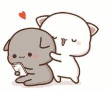 The perfect MochiMochi PeachCat Scared Animated GIF for your conversation. Discover and Share the best GIFs on Tenor. Hug Love Gif, Cat Hug Gif, Cute Cat Gif, Chibi Cat, Cute Chibi, Cute Bear Drawings, Kawaii Drawings, Gif Lindos, Cute Kawaii Animals