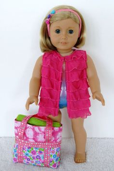 18 inch American Girl Doll Clothing Pink Sparkle Swimsuit Pink Ruffle Cover Up Flower Beach Bag Beach Towel Headband