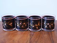 Rare Vintage Cutler Barware 24k Gold And Black Cherry Blossoms Set Of 4  Tumblers Or Rocks Glasses, 1970s Made In Canada, Mid Century Barware