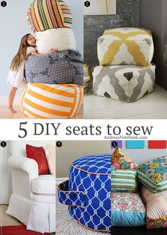 5 great seats to sew for home! Tutorials included. Maybe mom can help me make these!