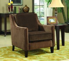 Brown Cappuccino Wood Fabric Accent Chair