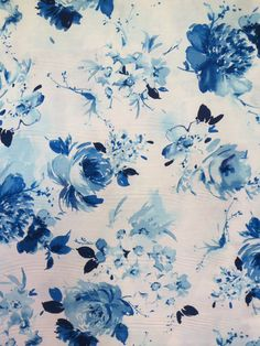 Shades of Blue Romantic Floral Print from by fabricsandtrimmings, $9.98