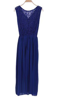 #SheInside Blue V Neck Sleeveless Lace Pleated Chiffon Dress
