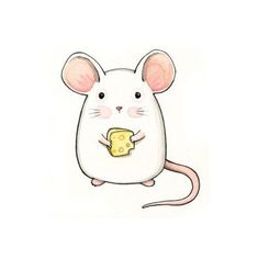 Cute mouse drawing for mug. Maus Illustration, Illustrations, Kawaii Drawings, Easy Drawings, Cartoon Drawings, Cute Little Drawings, Animal Drawings, Cute Art, Painting & Drawing