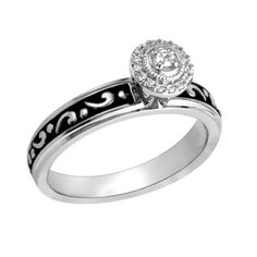 1/10 CT. T.W. Diamond Frame Scrolled Engagement Ring in Sterling Silver with Balck Enameling