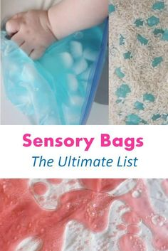 Sensory Bags are so much fun. Check out this list to create some interesting and entertaining combinations