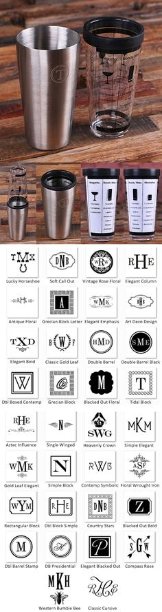 Personalized Cocktail Shaker Mixer w/ 5 Recipes (34 Monogram Designs)