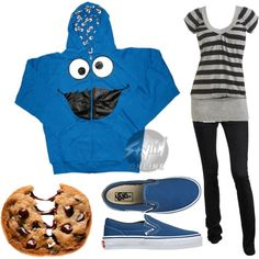Cookie monster by tina1milkshake2straws on Polyvore featuring polyvore, fashion, style, Sesame Street, Wet Seal, Dorothy Perkins, Vans, Nestlé and clothing