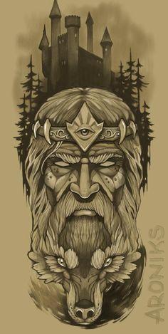Zeus Tattoo, Norse Tattoo, Biker Tattoos, Wolf Tattoos, Graffiti Tattoo, Full Arm Tattoos, Sleeve Tattoos, Tattoo Sketches, Tattoo Ideas