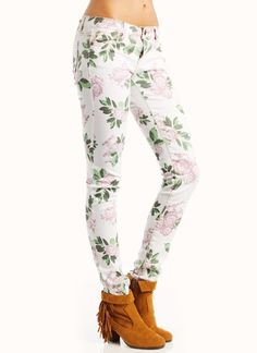 floral jeans with fringe booties = perfect combo