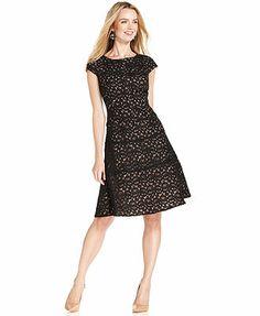 Anne Klein Dress, Cap-Sleeve Lace A-Line
