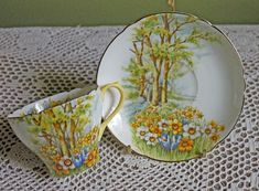 Tea Cup with Saucer by Royal Albert. Bone China Hand Painted