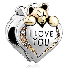 "Silver plated Pugster ""I Love You"" heart bear charm, for Pandora bracelet. #gifts #love #womensjewelry"