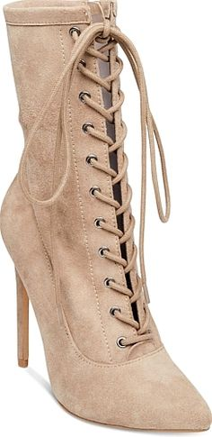 Steve Madden Women's Shoes in Taupe Suede Color. Steve Madden Women's  Satisfied Lace-Up