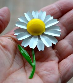 BRIGHT YELLOW DAISY Vintage Enamel Brooch Pin Wonderful White Daisy with Yellow Centre and Green Stem  Large Daisy with Petals by StudioVintage on Etsy