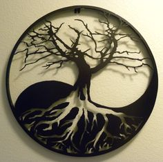 Yin yang tree of life (right shoulder)  White ink instead of empty space, with very black color