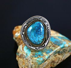 Indian Mountain turquoise, 18K Palladium and sterling silver ingot ring set with a 20 carat gem grade Indian Mt. turquoise with spiderweb matrix. By Sammie Kescoli Begay, Navajo