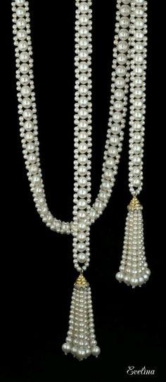 double sautoir with tassels , by Marina J Más Bead Jewellery, Seed Bead Jewelry, Pearl Jewelry, Wedding Jewelry, Beaded Jewelry, Handmade Jewelry, Jewelry Necklaces, Beaded Bracelets, Jewelery