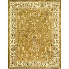 <li>Complete your home decor with a hand-tufted area rug</li><li>Traditional rug features a gold background and ivory border accented with gold, green, olive, ivory and burgundy</li><li>Rug is constructed of 100-percent hand-spun wool</li>