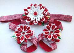 Set 3/Baby Red White Headband/ Flower Head Band/ by AirinFlowers
