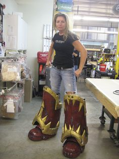FX fabricator Amy Whetsel tests some new boots.