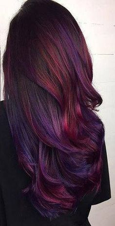 This listing is for a Set of Four 18 long WINE PLUM BURGUNDY galaxy oil slick colored clip-in hair extension. wide and 18 long real human hair extensions -each extension is approximately grams of hair -wefts are doubled, then sewn toget Ombre Hair Color, Hair Color Balayage, Cool Hair Color, Hair Highlights, Oil Slick Hair Color, Burgundy Hair Ombre, Galaxy Hair Color, Auburn Balayage, Purple Highlights