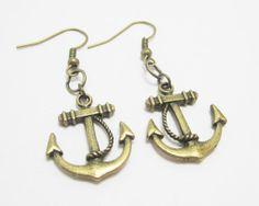 Nautical Bronze Anchor Charm Earrings by WhispySnowAngel on Etsy, $5.00