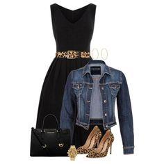 Black dress+animal print pumps and belt+denim jacket+black hand bag. Summer night event outfit 2016