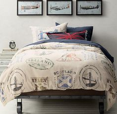 Ralph Lauren. Our printed cotton-canvas bedding takes its inspiration from a well-traveled passport, sporting signature stamps from must-see destinations across the U.S. and Europe. Description from rhbabyandchild.com. I searched for this on bing.com/images