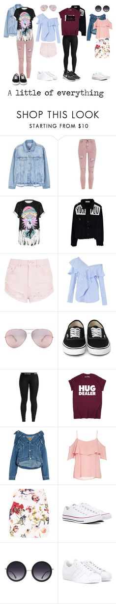 """De todo un poco."" by tgrr ❤ liked on Polyvore featuring MANGO, River Island, WithChic, Topshop, FAIR+true, Balenciaga, BB Dakota, Converse, Alice + Olivia and adidas"